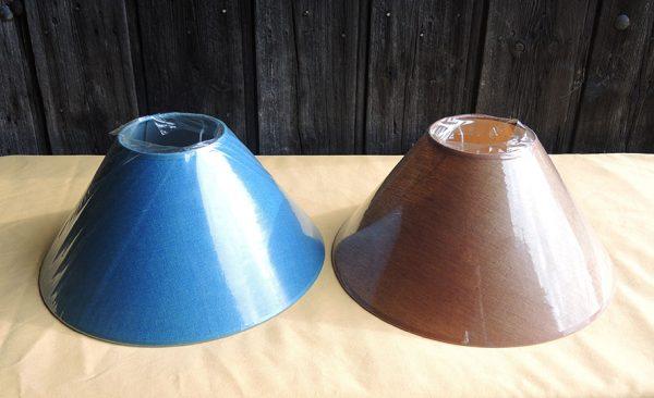 2-abat-jour-vintage-d-35cm-neufs-bleu-canard-marron-cuivre