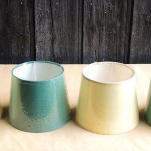4 anciens abat-jour NEUFS Jaune x 2 / Vert x 2 D14 cm