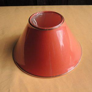 Ancien abat-jour Brique Orange NEUF (bande dorée) D 25,2 cm