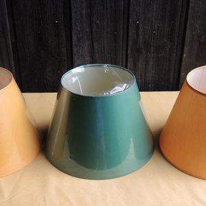 3 anciens abat-jour Vert / Jaune NEUFS D30 cm