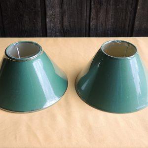 2 anciens abat-jour Vert NEUFS (bande dorée) x 2 D 25.2cm