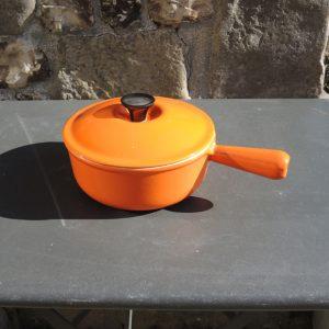Ancien Casserole En Fonte Emaillé Orange LE CREUSET