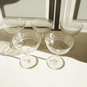 Anciennes Coupes À Champagne En Cristal Motif Art Déco