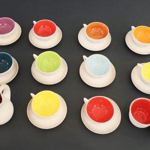 Service À Thé Vintage En Céramique Multicolore