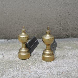 Chenets Minaret Vintage En Fonte Et Laiton
