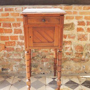 Table De Nuit Vintage En Bois Et Marbre