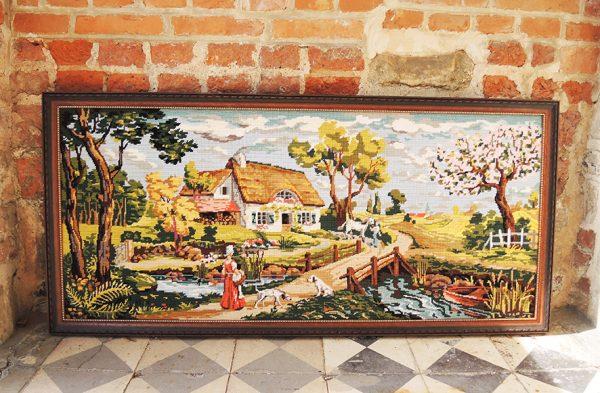 ancien-grand-canevas-tapisserie-ecadree