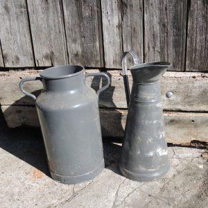 Pot À Lait Et Broc Vintage En Zinc