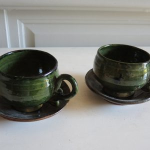Tasses & Soucoupes Vintage En Terre Cuite de Patamban
