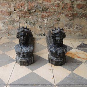 Chenets en Fonte vintage: Buste de Femme Couronnée