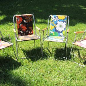 4 Fauteuils de Camping Rétro Motif Fleurs