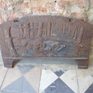 Petite Plaque antique de Cheminée Scène Chasse