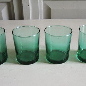 4 Petits Verres vintage Droits Verts Translucides
