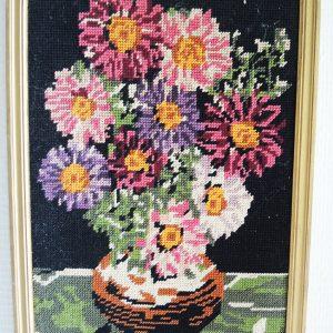 Tapisserie-Canevas Vintage Fleurs Encadrée H 36 x LA 25,5 cm
