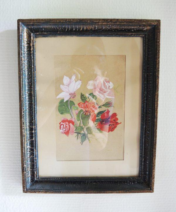 ancienne-aquarelle-florale-encadree