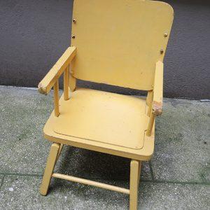 Chaise Pour Enfant Vintage en Bois Jaune