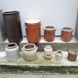 Collection de Pots Vintage en Grès : A Saloir / A Graisse / A Moutarde