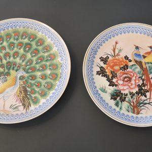 2 Assiettes Japonaises Vintage en Céramique : Décor d'Oiseaux