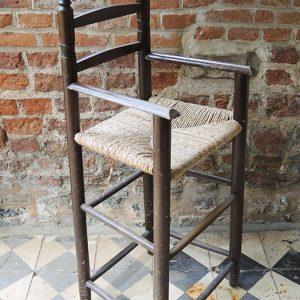 Chaise Haute Vintage d'Enfant en Bois & Paille
