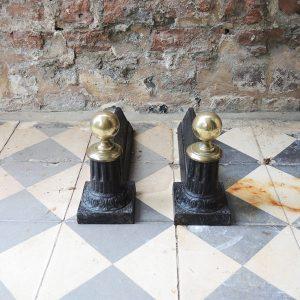 Chenets Vintage « Minarets » en Fonte et Laiton